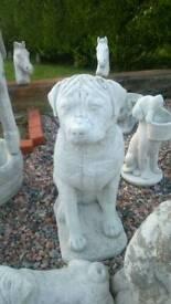 Concrete rottweiler dog garden ornament