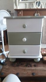 Lovely olive green and cream upcycled bedside table