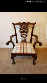 Antique mahogany occasion chair professionally reupholstered