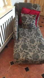 "Black and grey chaise lounge 47"" long"