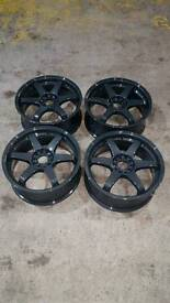 """17"""" alloy wheels with tyres just powder coated 5x100 and 5x112"""