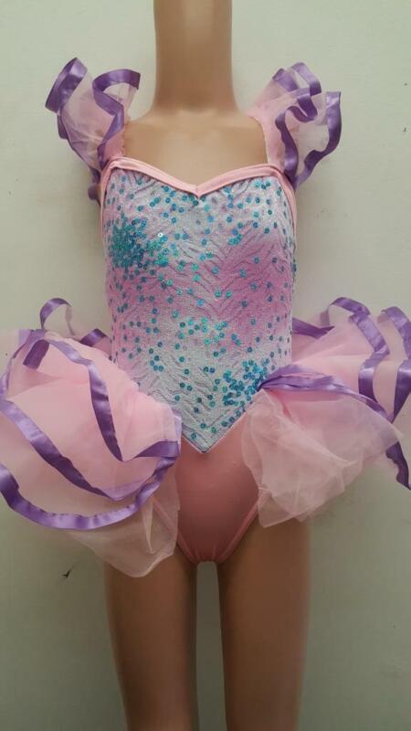 Dance Costume XS Child Pink Purple Ballet Tap Dress Up Tutu Solo Competition