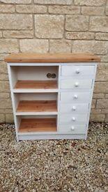 Vintage Pine Slim Bookcase / Chest / Entertainment / Storage Unit Painted Annie Sloan Old White