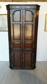 Attractive Solid Oak Late Georgian Corner Cupboard