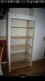 Cream canvas shelves unit in excellent used condition.