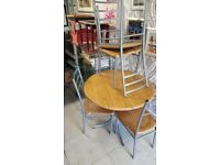 Round Solid Wood & Chrome Dining Table & 4 Chairs