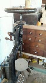 Antique blacksmiths cast iron pillar drill press