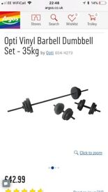 Opti vinyl barbell dumbbell set 35kg