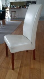 2 Sets of 4 Cream High Back Real Leather Dining Chairs. £120 Per Set . (Cost £175 per chair new)