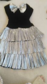 Ladies party or occasion dress black velvet and silver shimmer size 12-14