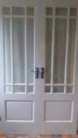 White internal glazed french doors