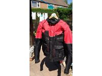 Kevlar protected Biker Jacket in Black & Red with removable back protection sixe 2XL
