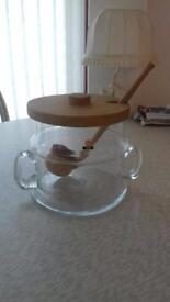 INGRID GLASS Punch bowl and six glasses NEW
