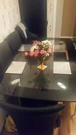Black dining table & chairs
