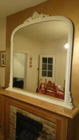 Overmantle Mirror - Ivory Shabby Chic
