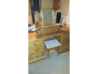 Bedroom furniture set, chest of drawers, dressing table, bedside unit, pine
