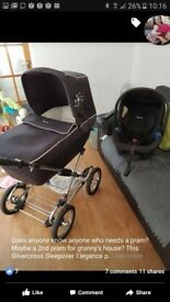 Silvercross pram with attachable carseat