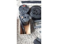 maximuscle gym equipment, many weights, 2.5kg, 5kg, 10kg, 15kg, bars, bench.. good condition