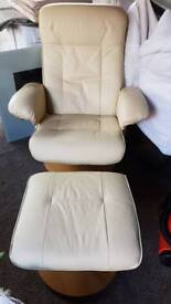 Leather cream recliner and Stoll