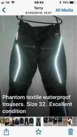 Phantom Textile waterproof motorcycle trousers size 32 buffalo