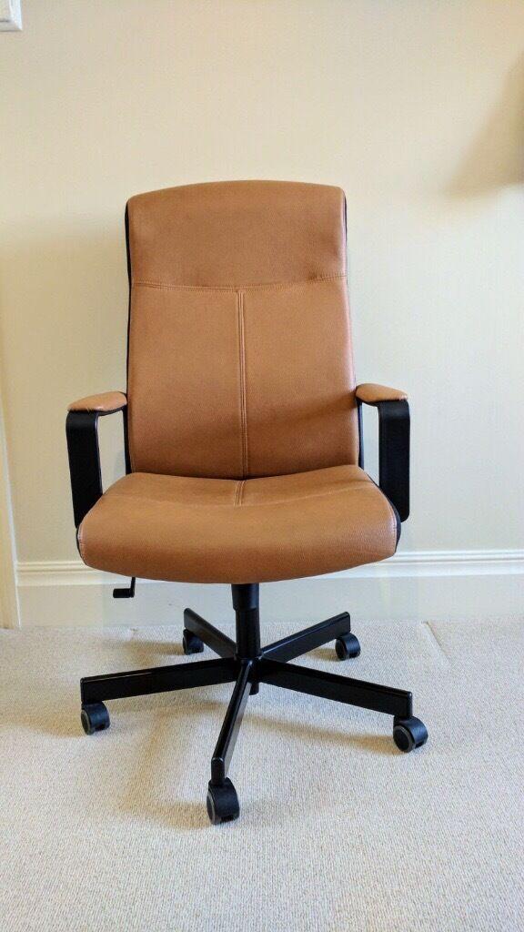 Ikea Malkolm High Back Adjustable Tan Faux Leather Office