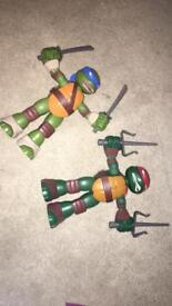 Ninja turtles stretch and shout