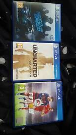 Ps4 games Need for Speed,uncharted,fifa