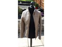 Ladies/women`s creamy (light brown) leather look jacket, size L