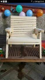 NEW hand crafted wooden garden chair