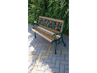 RUGGED CAST IRON BENCH FOR A GARDEN, PATIO OR CONSERVATORY