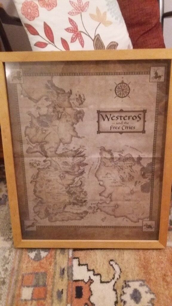 Game of Thrones Westeros map picture poster - framed | in Caversham, Game Of Thrones Full Map Poster on walking dead map poster, hobbit unexpected journey map poster, gravity falls map poster, game.of thrones s3 poster, supernatural map poster, life map poster, united states map poster, red dead redemption map poster, world of warcraft map poster, community map poster, silicon valley map poster, fallout new vegas map poster, skyrim map poster, dark souls map poster, grand theft auto v map poster,