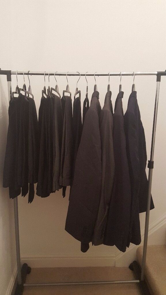 Mens Suits, suit trousers, cargo trousers and shorts. Leather jacket and rain mac.