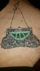 Ornate silver and turquoise beaded bag