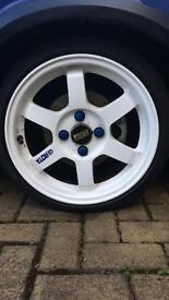 """Rota grid 15"""" with tyres 4x100"""