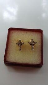 9ct gold diamond cross earings.