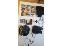 PS3 Slim + steering wheel + ps3 move + game
