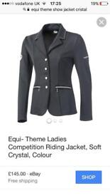 Equi-theme black show jacket/ jumping Size 36/ ladies 8 soft shell