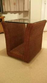 Coffee Table with Glass top & brown wicker base