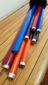 Fluorescent tubes x 8 with coloured sleeves/covers
