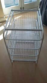 White metal basket 4 drawers for storage