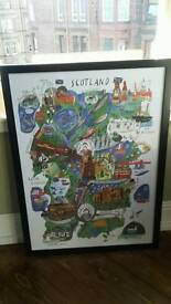Framed quirky map of scotland