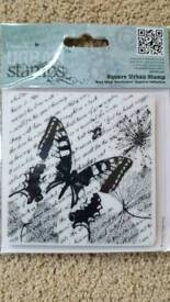 URBAN STAMPS BUTTERFLY & SCRIPT RUBBER STAMP - BRAND NEW IN PACKAGING