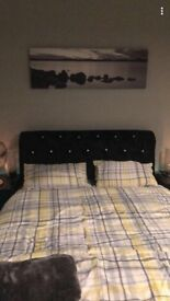 Chesterfield crushed velvet black king size bed with mattress
