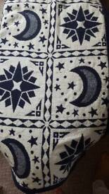 Blue & cream double bed throw