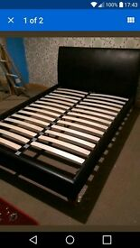 Black Leather Double Bed Frame Good Quality