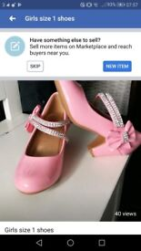 Pink party shoes size 1