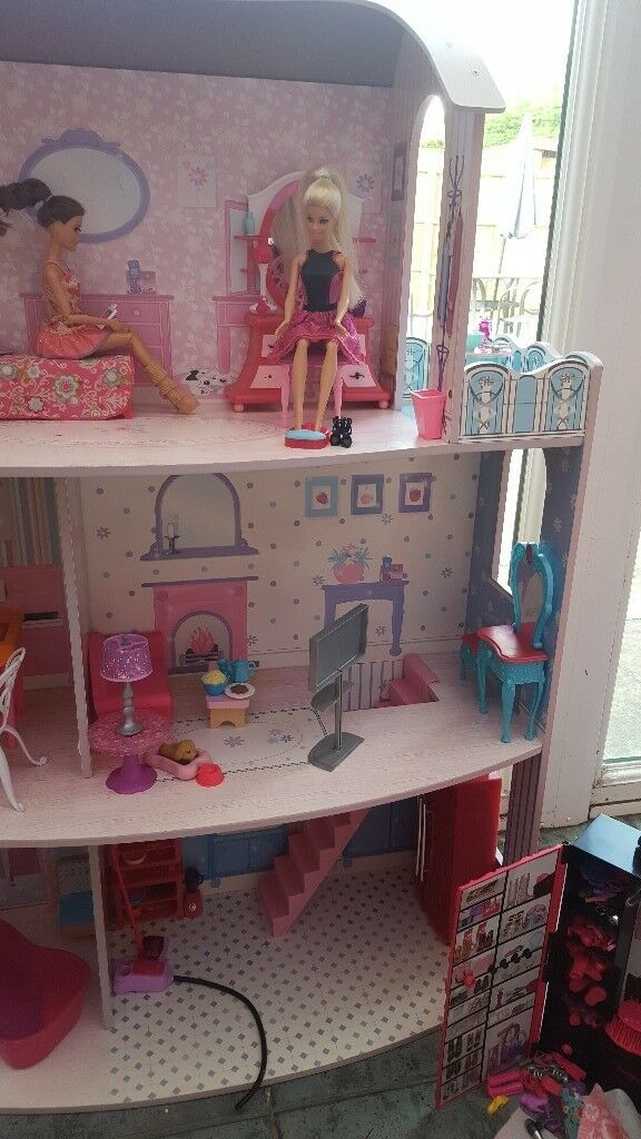 Wooden barbie house with furniture