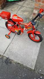 Kids bike, Fire Chief apollo. Stabilizers, 12inch for 2-4yrs