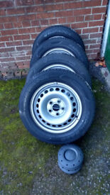 4 brand new Hankook 205/65/R16C 107/105T Wheels & Tyres for VW commercial etc BARGAIN!