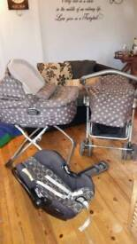Travel set birth to toddler pram carrycot oust chair car seat and extras